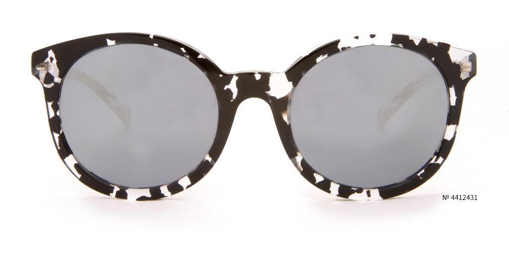 black and white round festival glasses