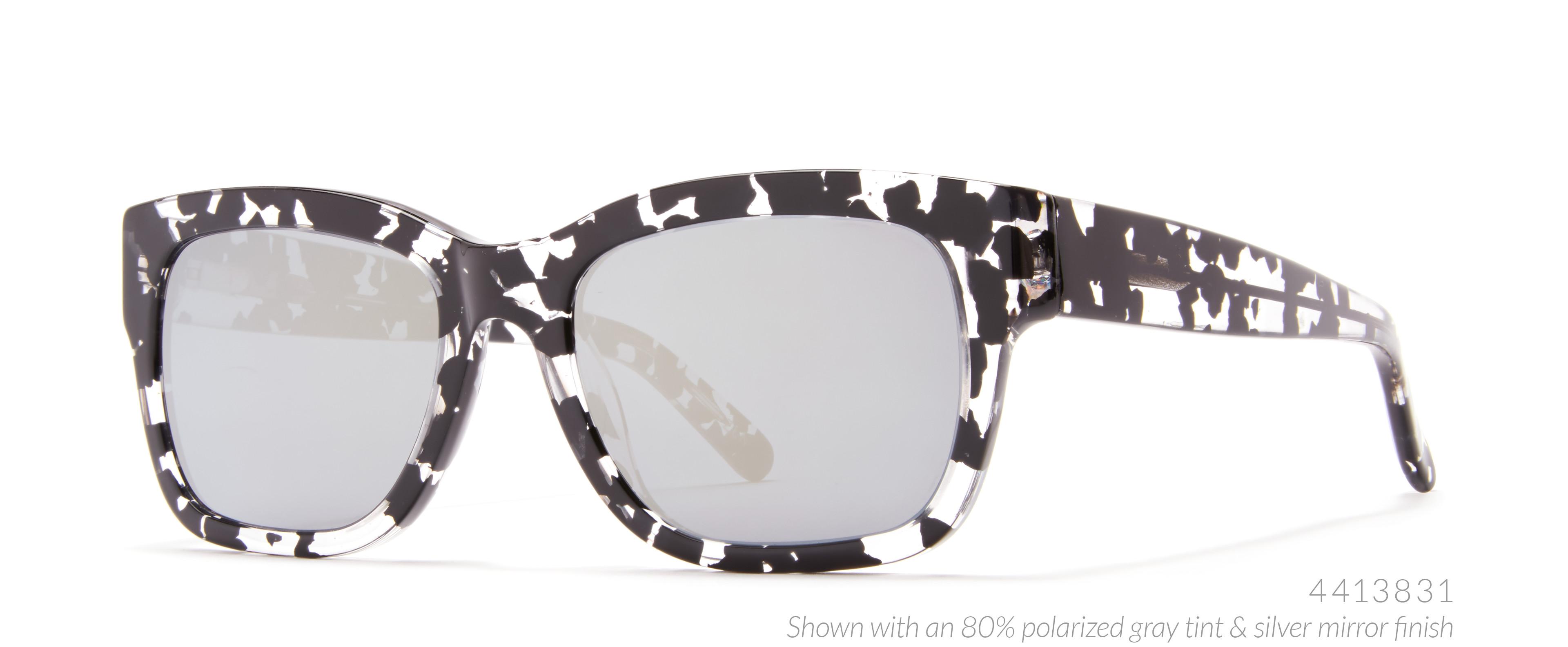 speckled black white glasses.