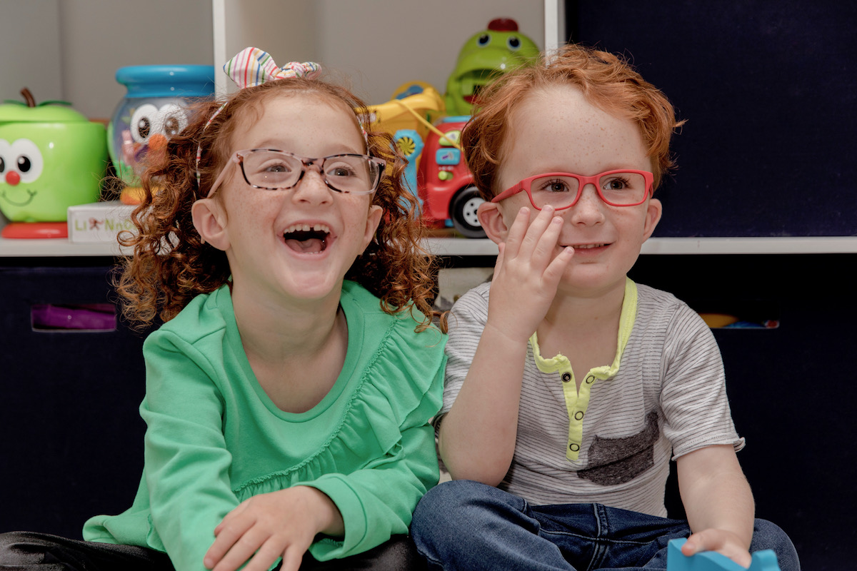 kids loving their new frames