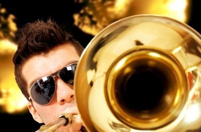 trombone player with sunglasses