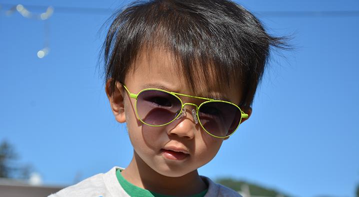 child with aviators