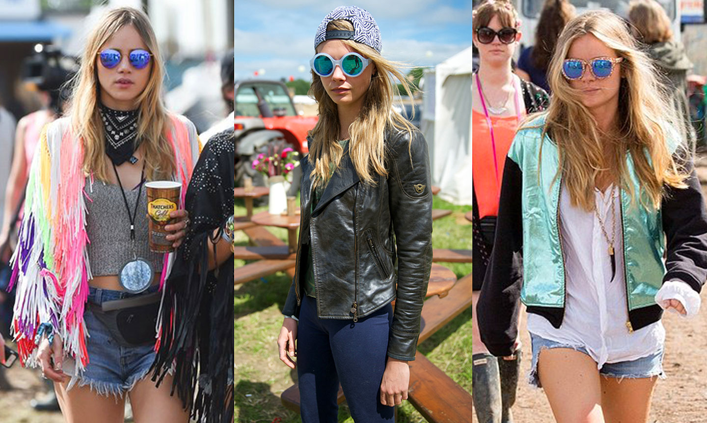 GLASTONBURY celebs mirrored sunglasses