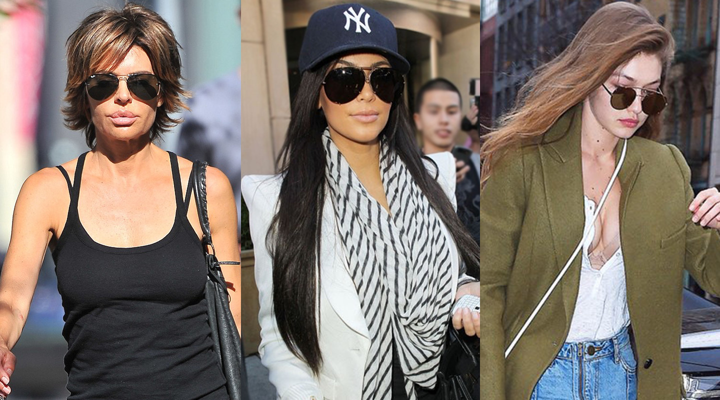 Lisa Rinna, Kim Kardashian, and Gigi Hadid wearing new aviator sunglasses