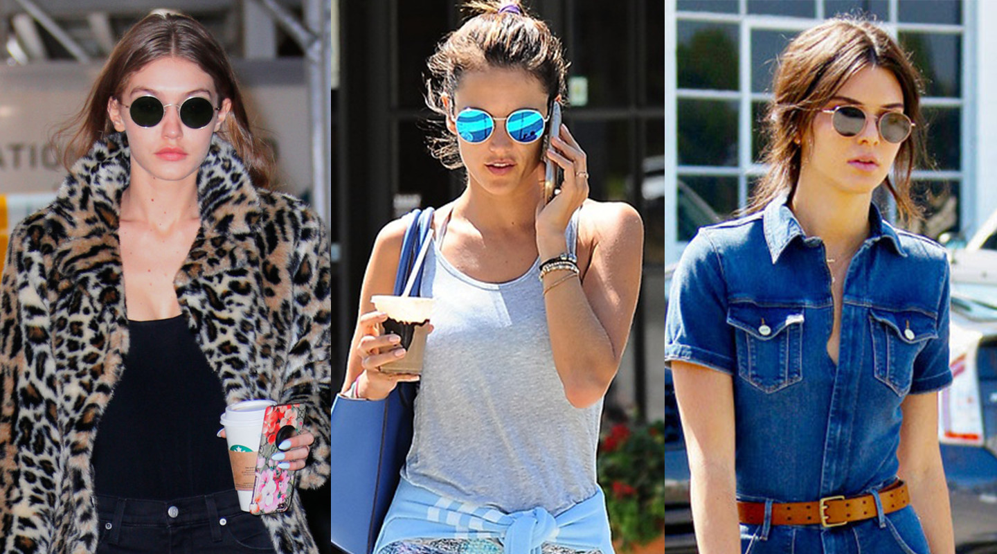 Kendall Jenner, Alessandra Ambrosio, and Gigi Hadid wearing round, colored sunglasses