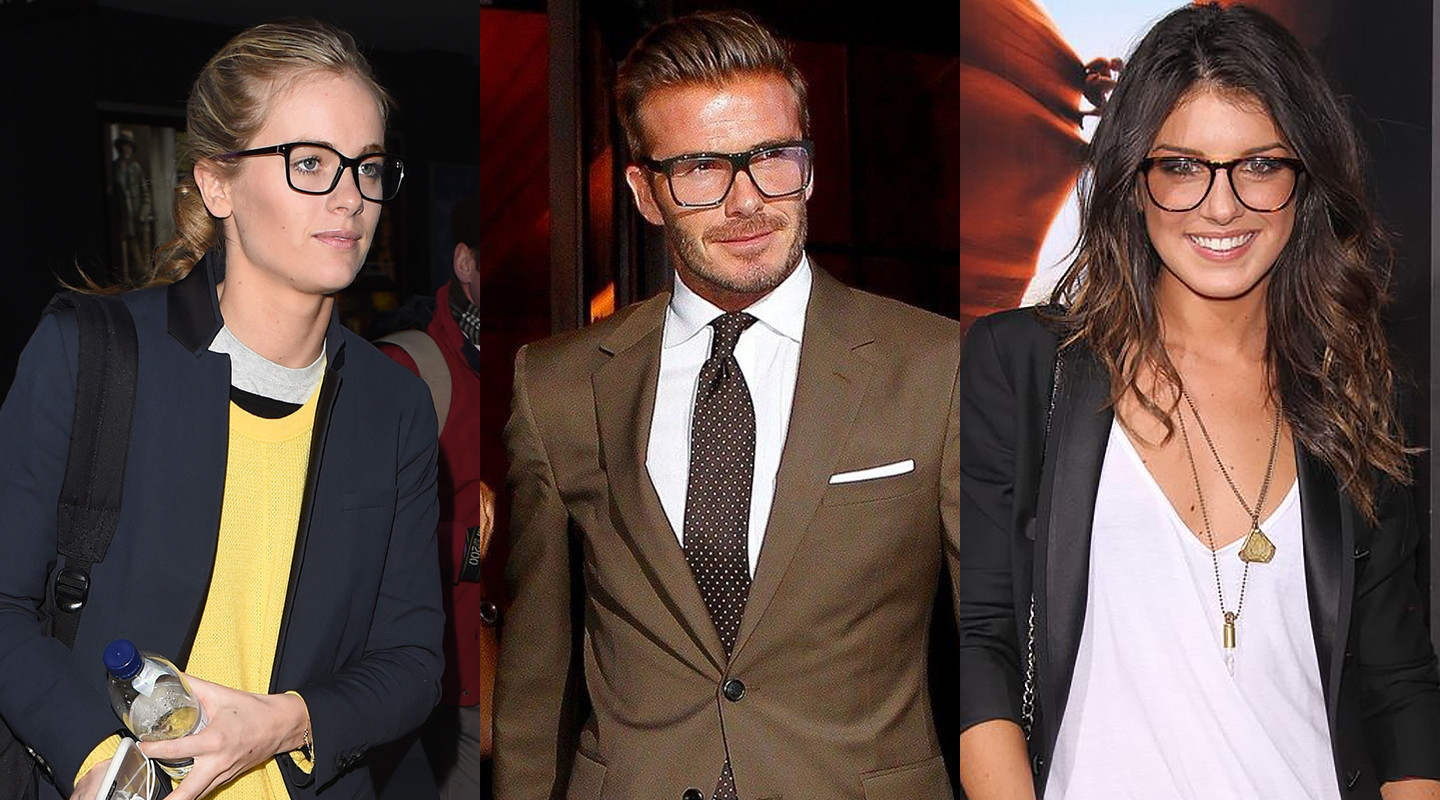 Cressida Bonas, David Beckham, and Shenae Grimes wearing angular eyeglasses