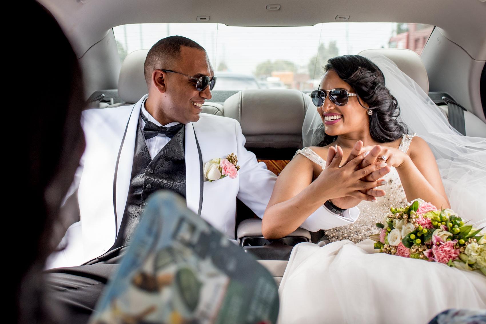 groom and bride aviator glasses
