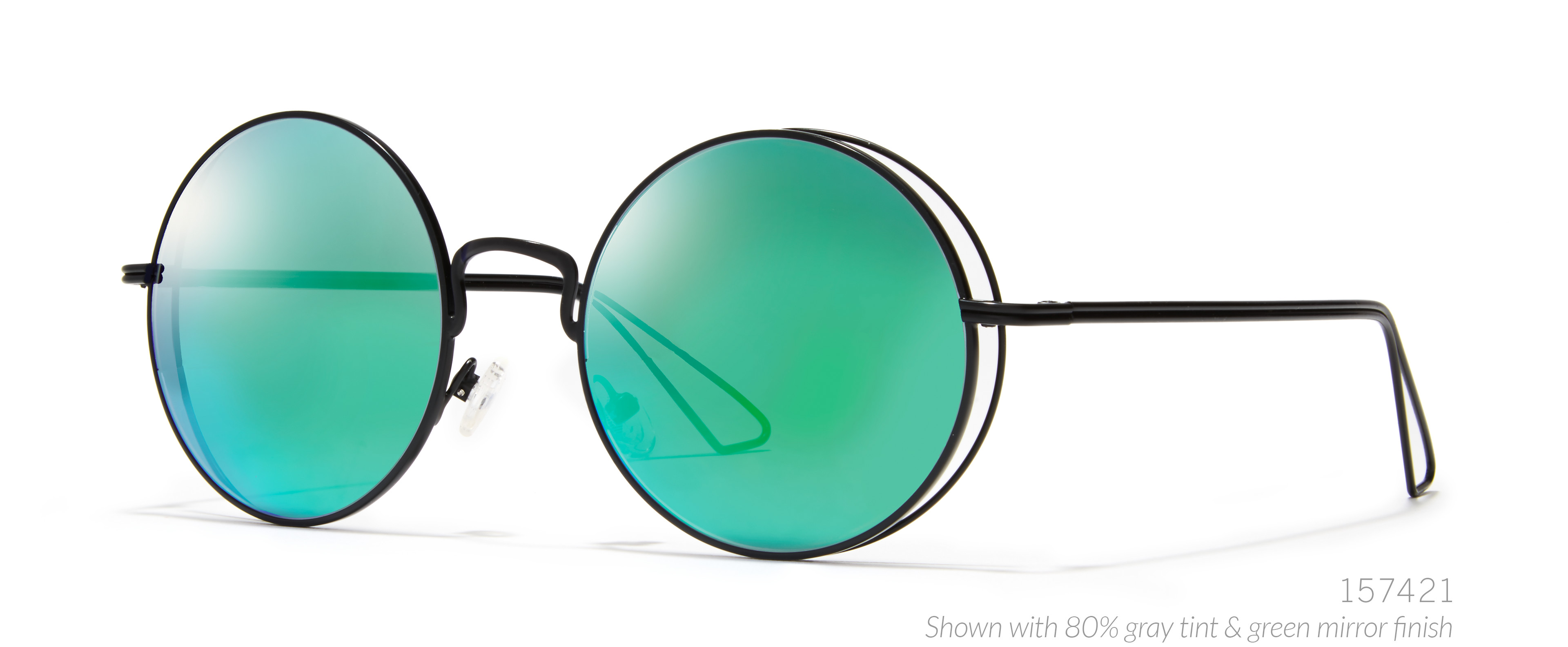 round sunglasses green mirror tint