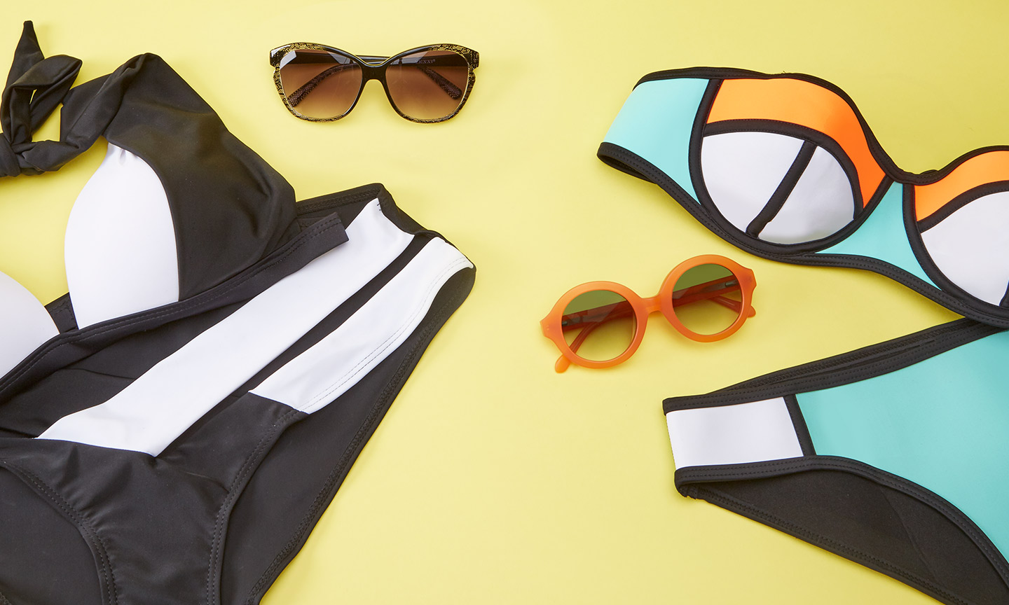 color-blocking bikinis and glasses