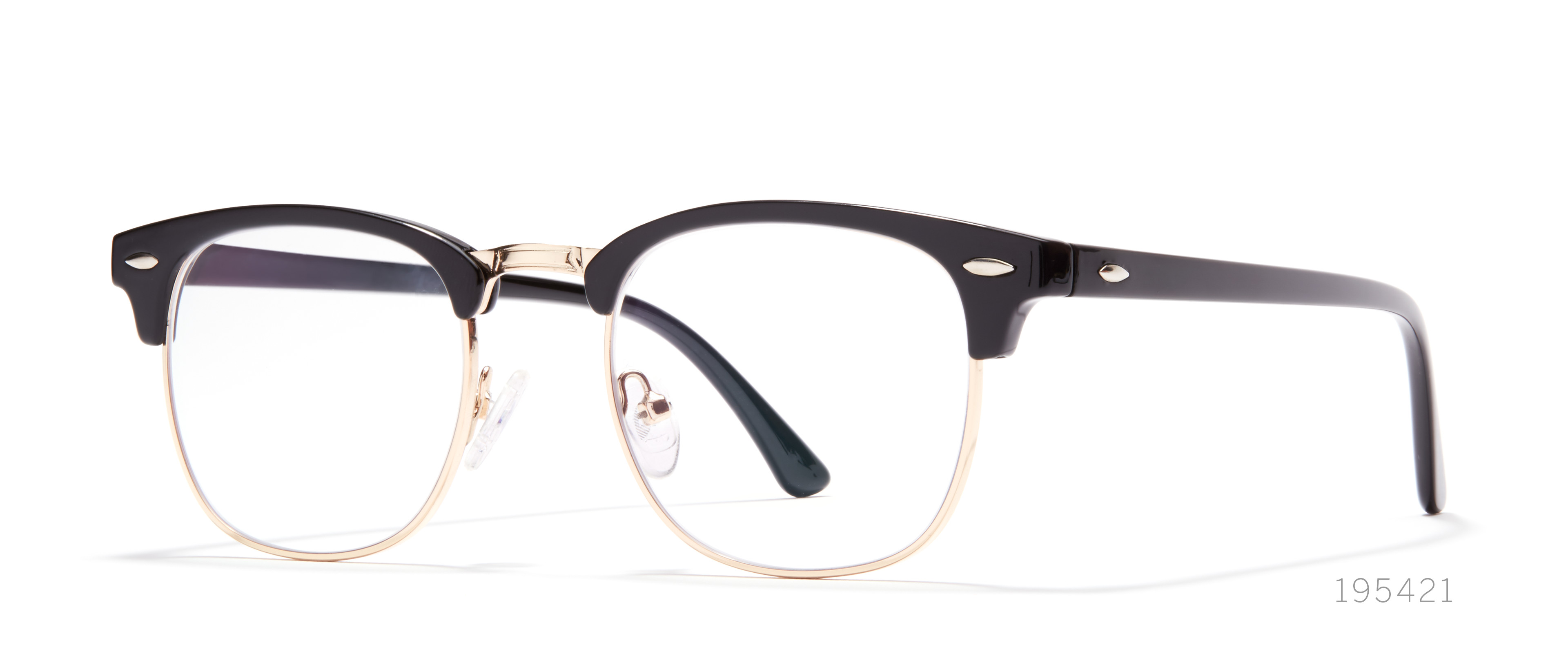 browline black eyeglasses
